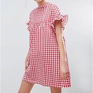 NWOT ASOS red gingham smock dress